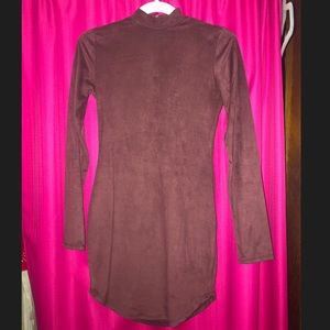Dark Purple/Brown Long Sleeve Suede Mini Dress.MED